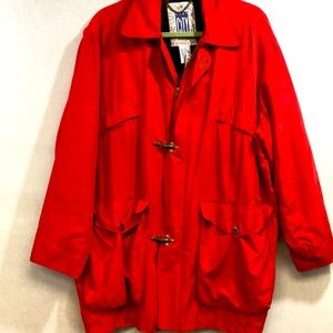VNTG Trench jacket large red toggle/zip 💯 % silk